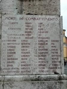 La lapide con i nomi dei soldati morti in combattimento